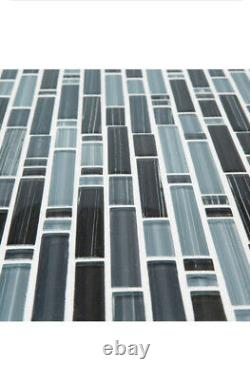 10PC Jeffrey Court Blue Zephyr Interlocking Glossy Glass Mosaic Wall Tile