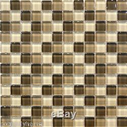 10SF Brown Crystal Glass Mosaic Tile kitchen backsplash wall bathroom shower 1
