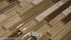 10SF- Brown Gray Linear Glass Mosaic Tile Kitchen Backsplash Wall Sink Shower