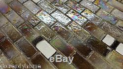 10SF Brown Iridescent Glass Mosaic Tile Kitchen Backsplash Pool Wall Faucet Sink