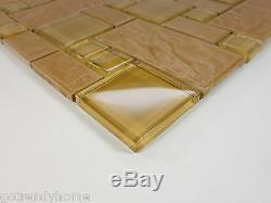 10SF Brown Stone Glass Blend Pattern Mosaic Tile Kitchen Backsplash Faucet Wall