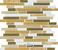 10SF- Cream Brown Beige White Linear Glass Mosaic Tile Kitchen Backsplash Wall