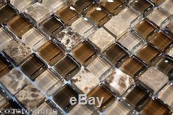 10SF Emperador marble Glass Mosaic Tile kitchen backsplash wall bathroom shower