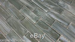 10SF Gray Stained Glass Mosaic Tile Kitchen Backsplash Spa Wall Faucet Shower