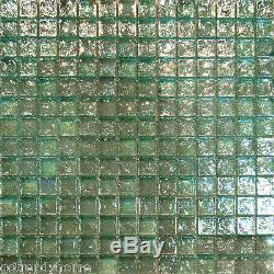 10SF-Mint Green Iridescent Glass Mosaic Tile Backsplash Kitchen Spa Sink Wall