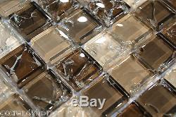 10SF Natural Brown Crackle Glass Mosaic Tile kitchen backsplash wall bathroom