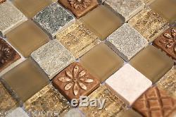 10SF Natural Brown Stone Glass Mosaic Tile kitchen backsplash wall bathroom sink