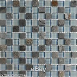 10SF Natural Stone Blue Glass Mosaic Tile kitchen backsplash wall bathroom sink