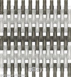 10SF- Ocean White Gray WAVY Glass Stone Mix Mosaic Tile Kitchen Backsplash Wall