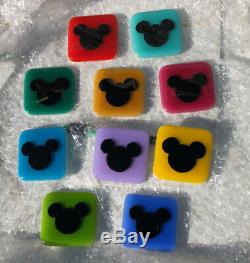 10 RARE Colored Disney Glass Wall MICKEY Tiles, Great Home Decorating Project