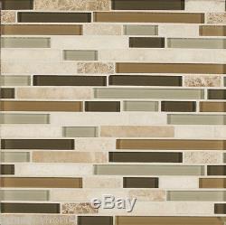 10-SF Brown Marble Glass Mosaic Tile kitchen backsplash wall bathroom shower Spa