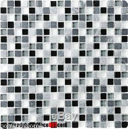 10-SF black gray stone Glass Mosaic Tile kitchen backsplash wall bathroom shower