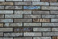 10 SHEET 10 SQ FT Brown Mosaic Tile Mesh Sheet Stone Glass Bathroom Kitchen