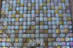 10 SHEET White Pink Gold Mosaic Tile Mesh Glass Stainless Steel Bathroom Kitchen