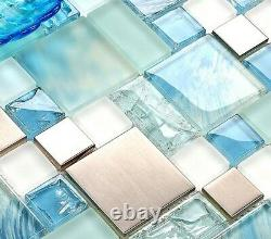 11PCS Hand-Painted Blue Glass Backsplash Tile Silver Stainless Steel Mosaic MH10