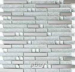 11PCS Linear Glass Tile with Silver Stainless Steel & Rhinestone Mosaic YG002