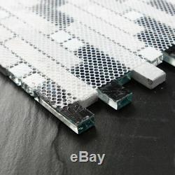 11PCS Linear Mosaic Wall Tile, Polished Marble and Glass, Teal Blue/Gray 9805