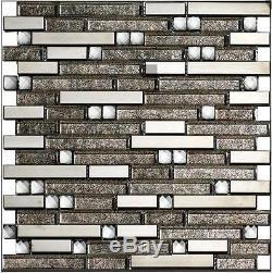 11PCS glass metal mosaic tile kitchen bathroom background decorative wall tile