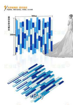 11PCS strip crystal glass mosaic tile kitchen bathroom swimming pool wall tiles