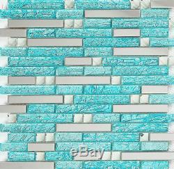 11-PCS Backsplash Tile Turquoise Glass & Silver Stainless Steel Bath Walls H20