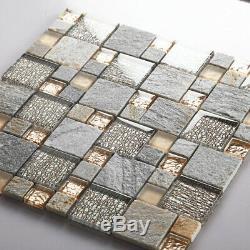 11-PCS Glass Stone Mix Mosaic Tile Gray and Rose Gold Backsplash Bath Walls 638