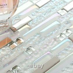 11 PCS Glass and Metal Backsplash Tile Iridescent & Mirrored Silver Mosaic Walls