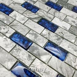 11 PCS Glass and Stone Subway Tile 1x2 Royal Blue & Gray Wall Backsplash Tiles