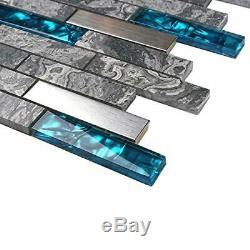 11-PCS Grey Linear Wall Tiles, Marble Glass Mix Stainless Steel Backsplash MGT04