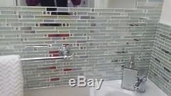 11-PCS Iridescent Backsplash Tile Glass Stainless Steel Kitchen & Bath Wall NB01