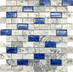 11 PCS Royal Blue & Gray Glass and Marble Mosaic Tile 1x2 Subway Backsplash NB03