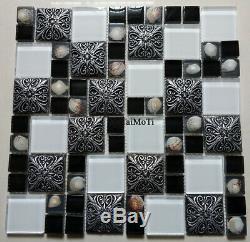 11pcs White Black Shell Blue Glass Mosaic Bathroom Wall Kitchen Shower Tile