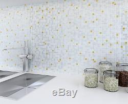 11pcs White golden glass mosaic tiles Kitchen backsplash tiles for wall