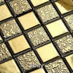 (12) 12x12 Porcelain Tile Sheets For Bathroom Interior Luxury Gold Plated
