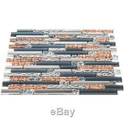 12 Pieces Mosaic Tile Glass Backsplash Tile Interlocking Kitchen Bath Wall Tile