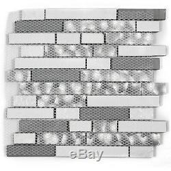 12 Sq Feet Black Silver Glass Tile Kitchen Backsplash Mosaic Art Decor Bath Wall