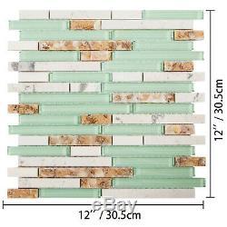 12 Sq Feet Mosaic Tile Glass Kitchen Backsplash Tile Wall Tile Beach Style