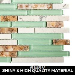 12pcs Mosaic Tile Glass Backsplash Tile Kitchen Wall Tile Beach Style 12x12 inch