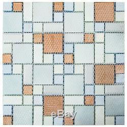 12pcs Mosaic Tile Glass Backsplash Tile Kitchen Wall Tile Sea Blue 12x12 inch