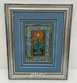 14x17 Framed & Signed 3D Flower Mixed Media Collage Wall Art Resin Tile Mosaic