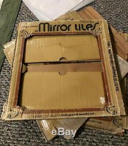 (15) Vintage Square MIRROR WALL TILES Gold Copper Plated 1975 12 x 12 Glass