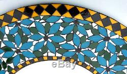 17 Round Stained Glass Mosaic Tile Flower Mirror Floral Wall Art Handcrafted