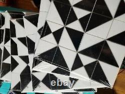 18 Sheets Ocean Craft Black & White Pinwheel Glass Mosaic Tile Kitchen Backplash