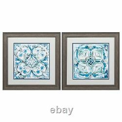 19 X 19 Distressed Wood Toned Frame Carribean Tile (Set of 2)