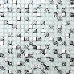 1 SQ M Black Clear Crackle Silver Glass Mosaic Bathroom Wall DIY Tiles GTR10078