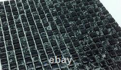 1 SQ M Black Crackle And Plain Glass Mosaic Wall Tile Sheets (Special Sale)