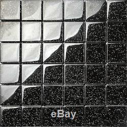 1 SQ M Black Glitter Galaxy Glass Mosaic Wall Tiles Shower Bathroom GTR10088