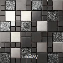 1 SQ M Hong Kong Mix Random Brushed Steel Black Glass Mosaic Wall Tiles 0002
