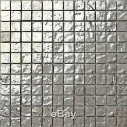 1 SQ M Silver Glass Mosaic Wall Tiles Textured Bathroom Shower Splashback 0127