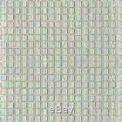 1 SQ M White Glass Mosaic Wall Tiles Lustrous Bathroom Shower DIY 0095