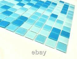 1x1 Pool Blue Spa Glass Mosaic Wall and Floor Tile Pool Backsplash (BOX OF 10)
